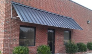The standing seam metal awning can be used for storefronts, windows, stairway covering, or door protection. Our Custom Canvas Works team is happy to help you design a setup that you'll be proud of.
