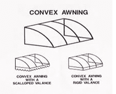 The height and projection of a convex awning start the same. Therefore, if you want a 4-foot tall awning, it will protrude 4 feet from your structure. Some owners prefer the rounded slope of a convex awning over the flat surface of the square option.