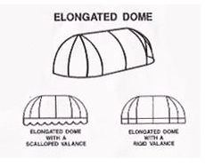 If you need to adjust the width of a convex awning – changing it from a perfect radius – you create an elongated dome. The ends may be curved and rounded or flat and straight, depending on your preference.