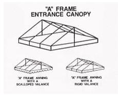 This triangular, gable roof-like, profile is a standard in entrance canopies. A custom selection will extend as far as you need to best accommodate your guests.