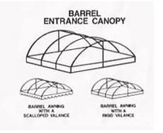 The barrel shape canopy is self-explanatory. This style looks like the top half of a barrel. Because of the flat face on the front, it's a good choice for businesses that want to include a name and/or log on the canopy.