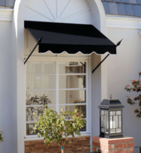 Angled support poles hold the awning up in the spear canopy style. It's a low profile option that's popular with many dining establishments.